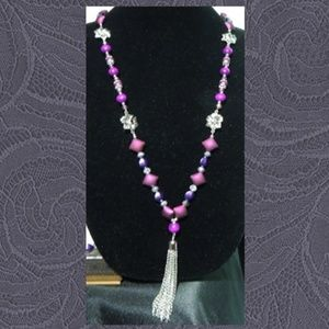 Get A Gift - Give Some Love Jewelry - Silver Tassel & Purple Jewelry Set